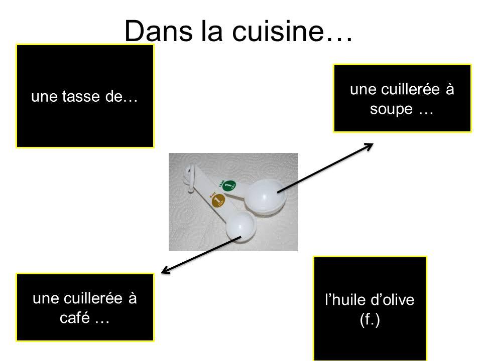 Dans la cuisine… une tasse de… une cuillerée à soupe …