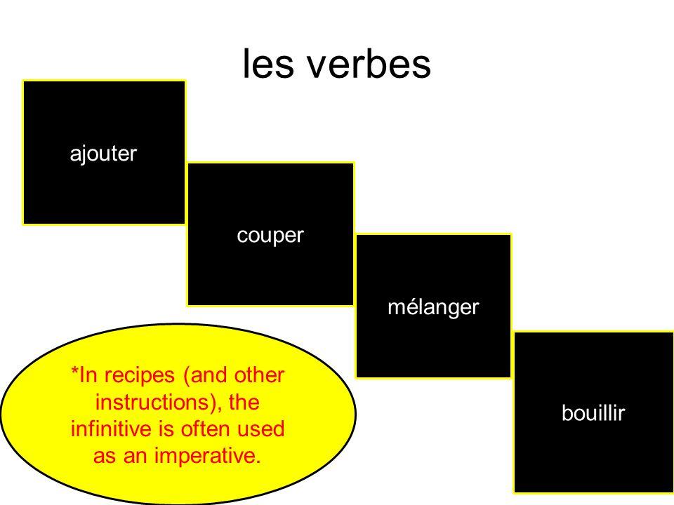 les verbes ajouter couper mélanger