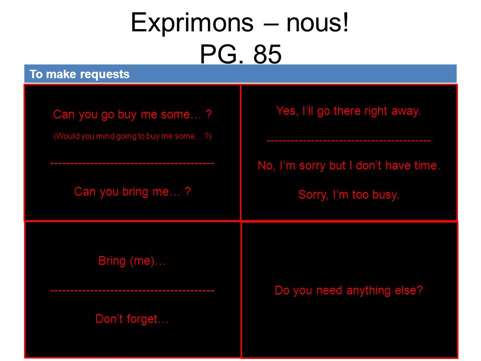 Exprimons – nous! PG. 85 To make requests Tu veux bien…
