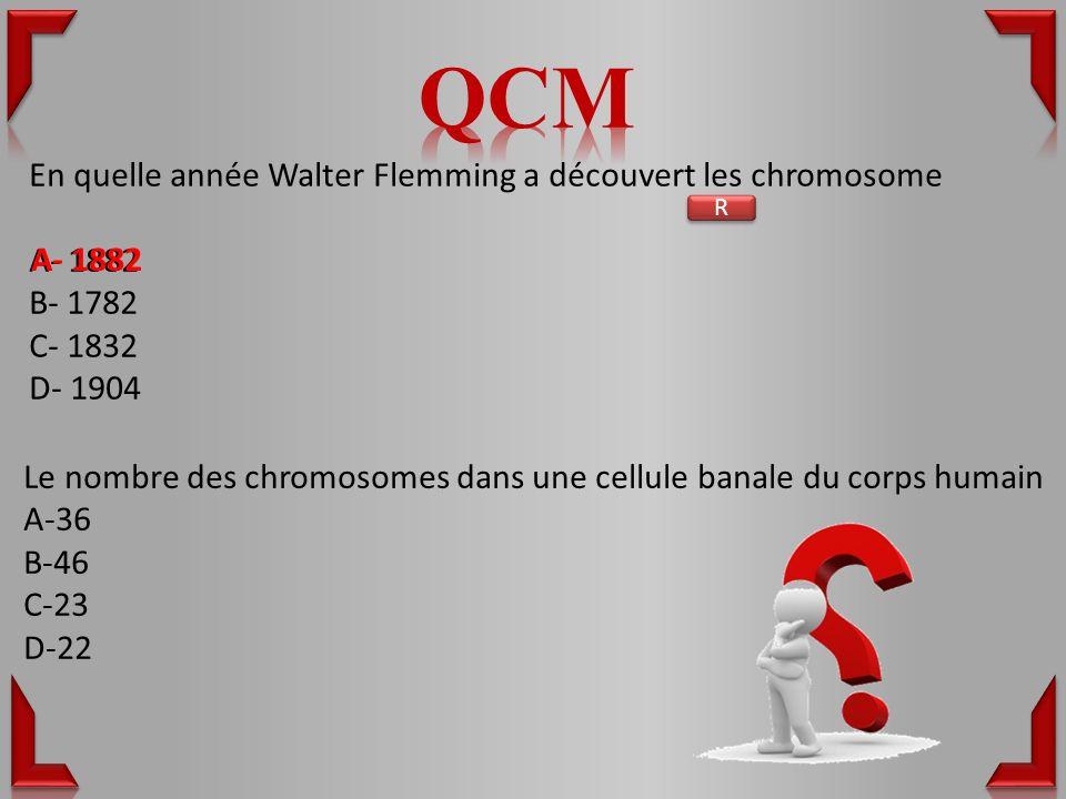 QCM En quelle année Walter Flemming a découvert les chromosome A- 1882