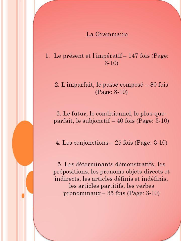 Le présent et l'impératif – 147 fois (Page: 3-10)