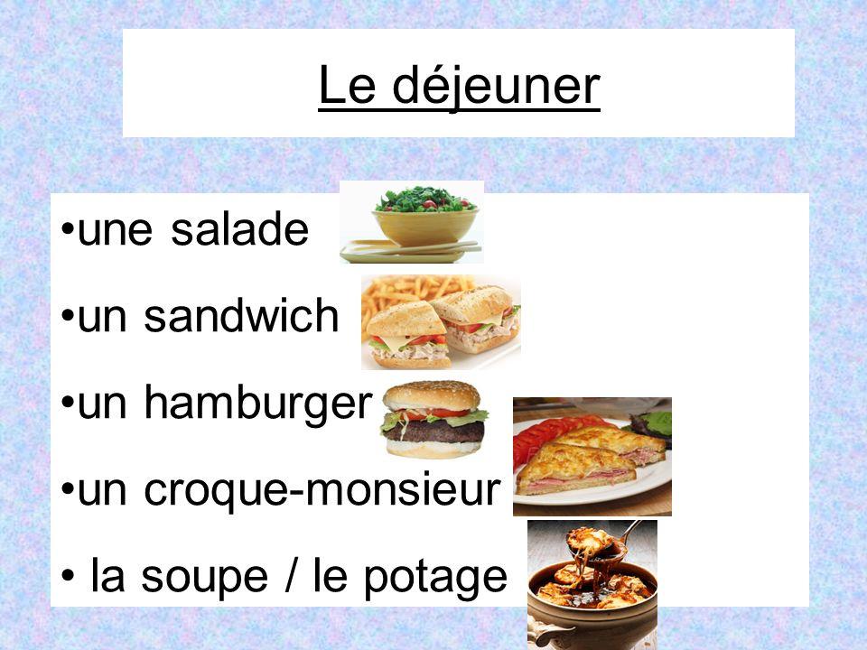 Le déjeuner une salade un sandwich un hamburger un croque-monsieur