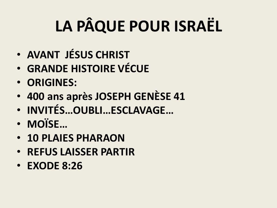 LA PÂQUE POUR ISRAËL AVANT JÉSUS CHRIST GRANDE HISTOIRE VÉCUE