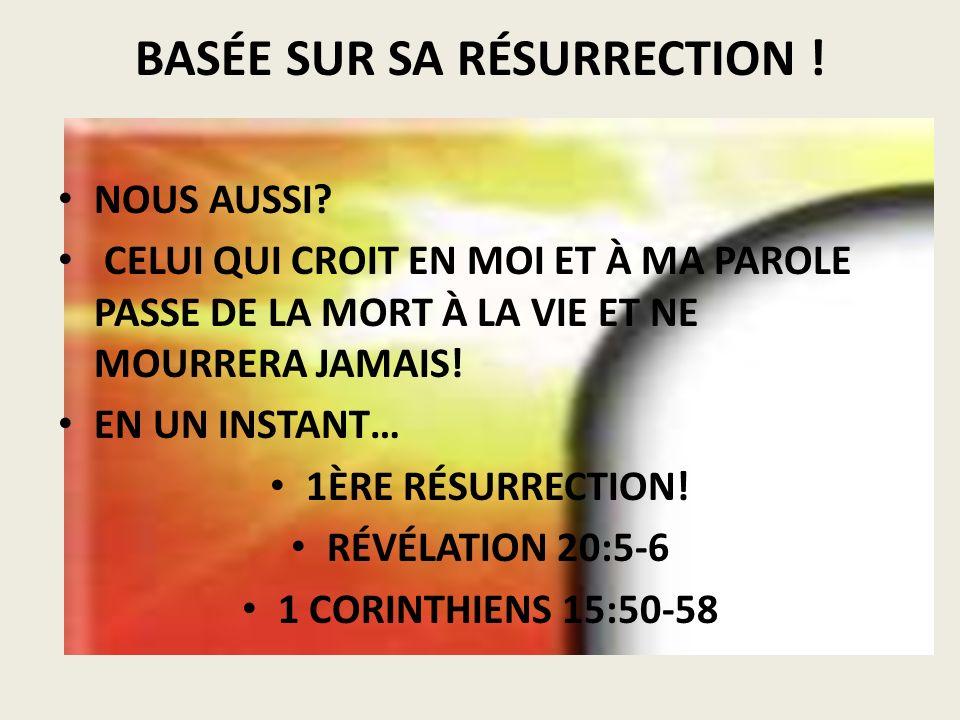 BASÉE SUR SA RÉSURRECTION !