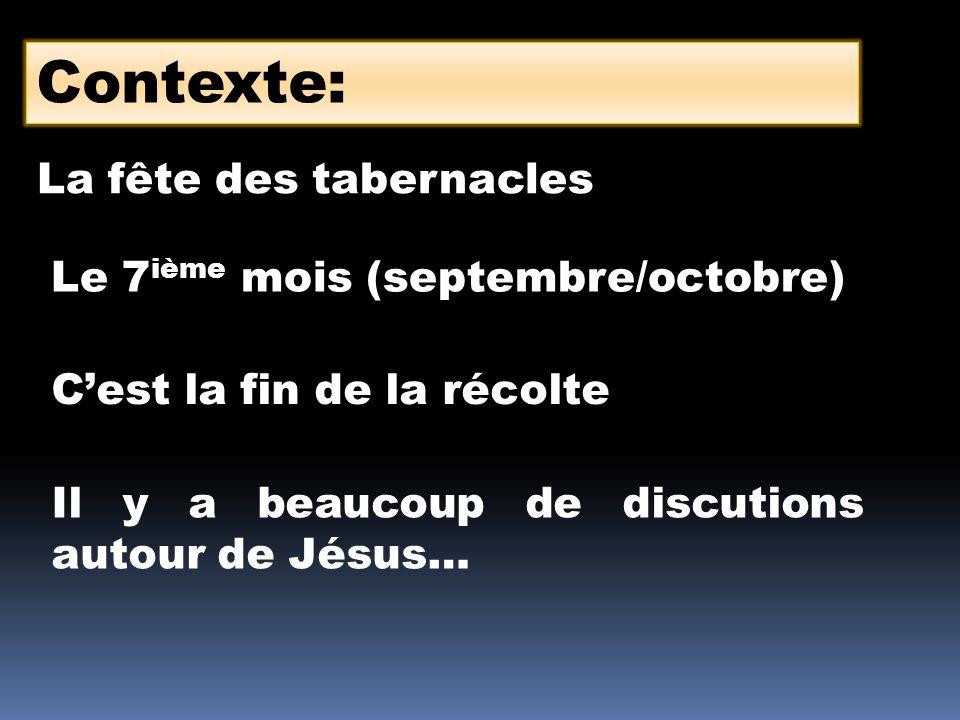 Contexte: La fête des tabernacles Le 7ième mois (septembre/octobre)