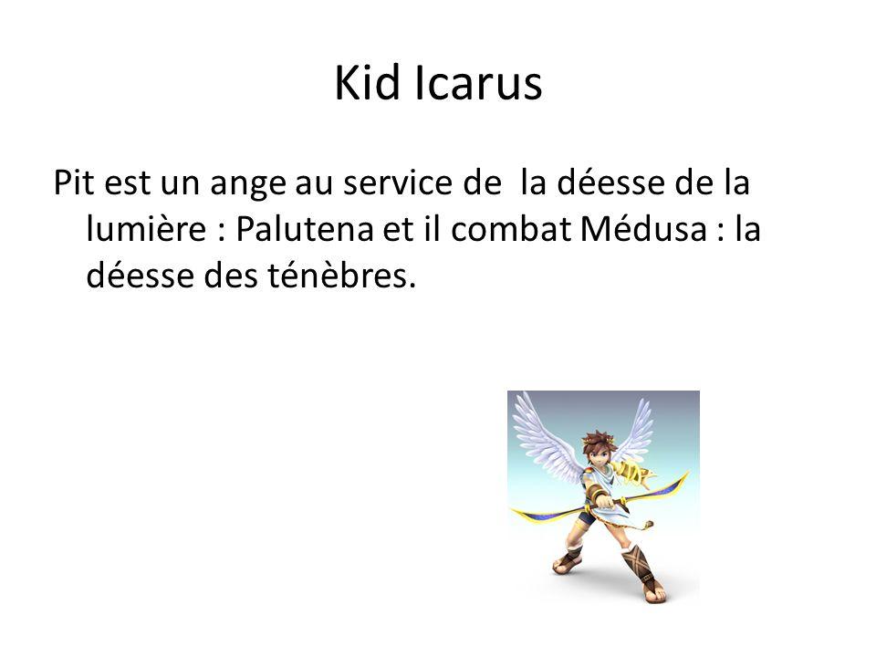 Kid IcarusPit est un ange au service de la déesse de la lumière : Palutena et il combat Médusa : la déesse des ténèbres.