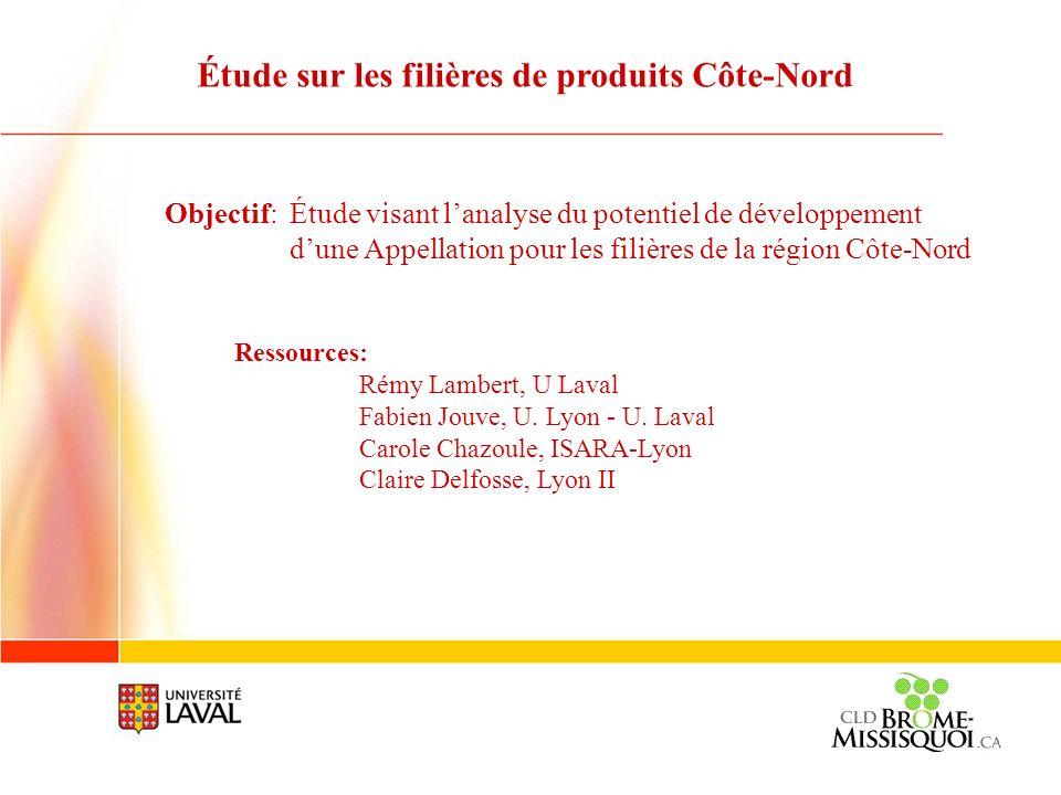 Étude sur les filières de produits Côte-Nord