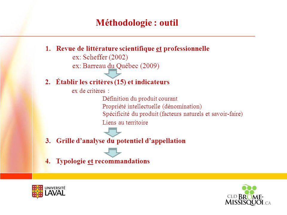 Méthodologie : outil Revue de littérature scientifique et professionnelle. ex: Scheffer (2002) ex: Barreau du Québec (2009)