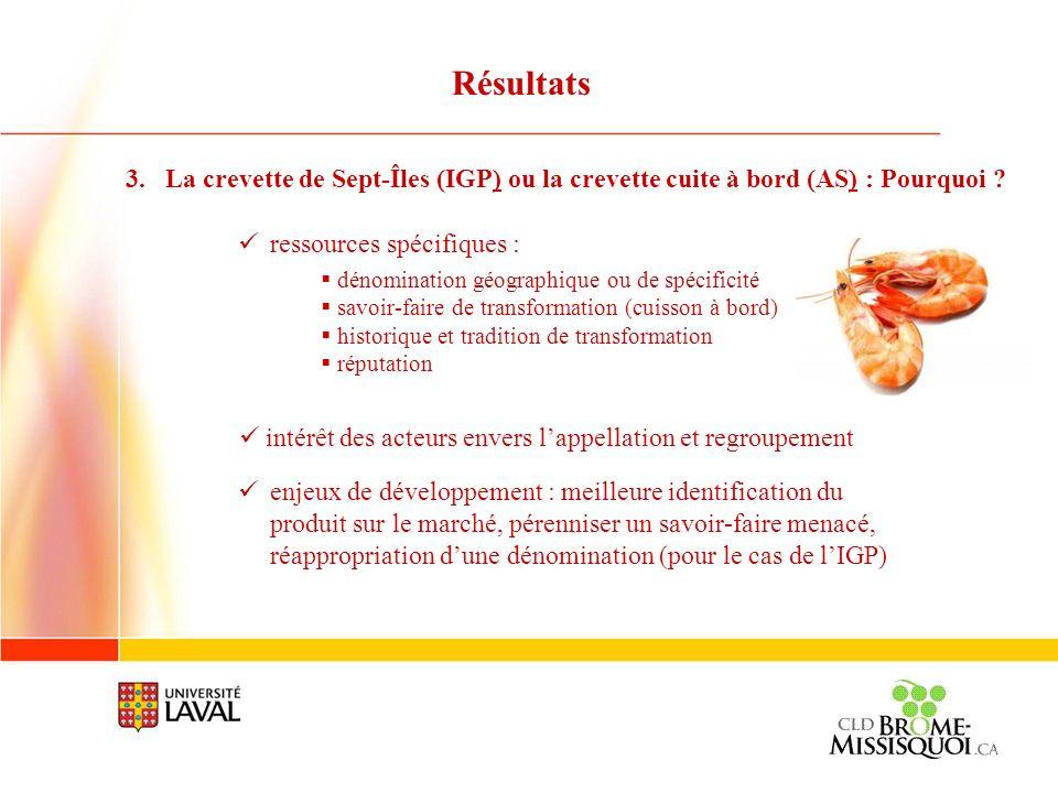 Résultats La crevette de Sept-Îles (IGP) ou la crevette cuite à bord (AS) : Pourquoi ressources spécifiques :