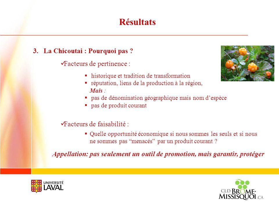 Résultats La Chicoutai : Pourquoi pas Facteurs de pertinence :