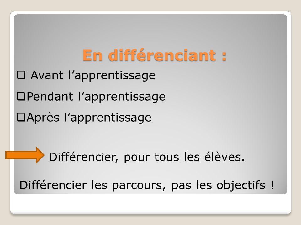 En différenciant : Avant l'apprentissage Pendant l'apprentissage