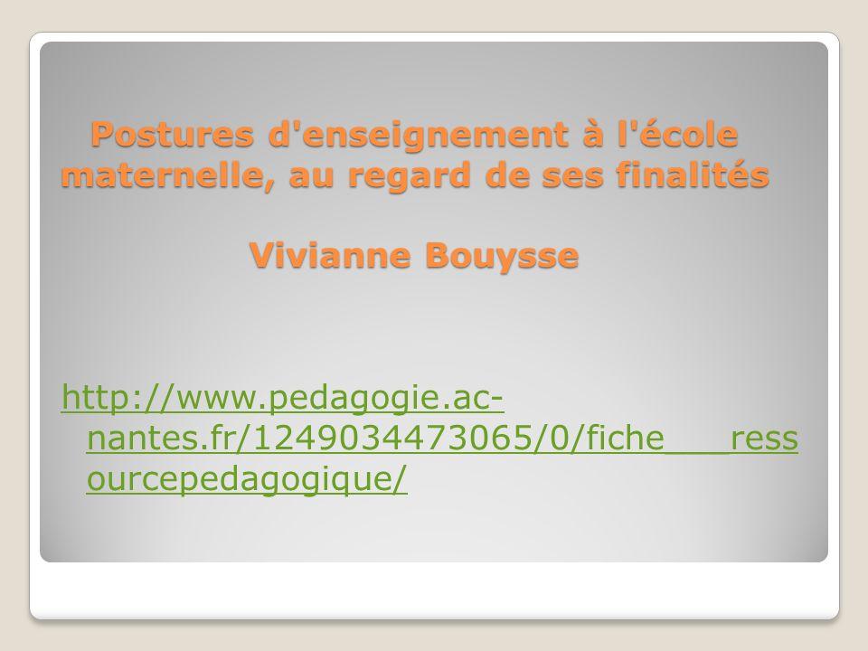 Postures d enseignement à l école maternelle, au regard de ses finalités Vivianne Bouysse