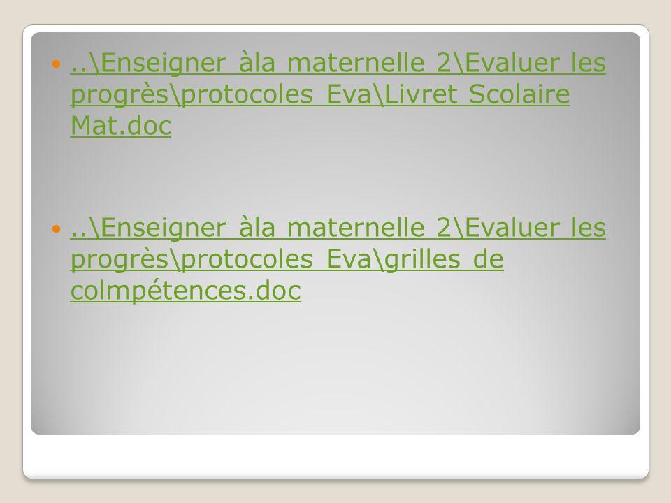 ..\Enseigner àla maternelle 2\Evaluer les progrès\protocoles Eva\Livret Scolaire Mat.doc