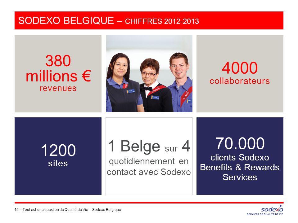 Sodexo Belgique – chiffres 2012-2013