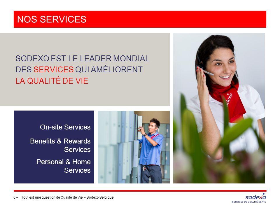 NOS services SODEXO EST LE LEADER MONDIAL DES SERVICES QUI AMÉLIORENT LA QUALITÉ DE VIE. On-site Services.