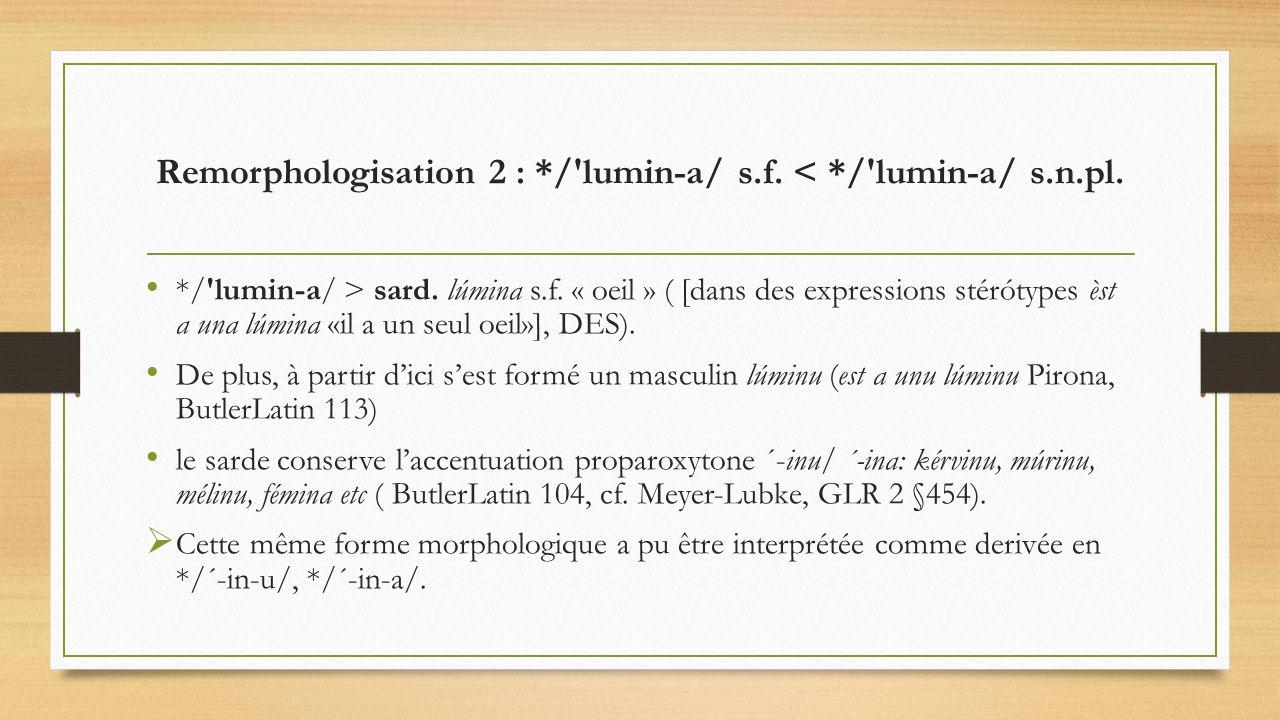 Remorphologisation 2 : */ lumin-a/ s.f. < */ lumin-a/ s.n.pl.