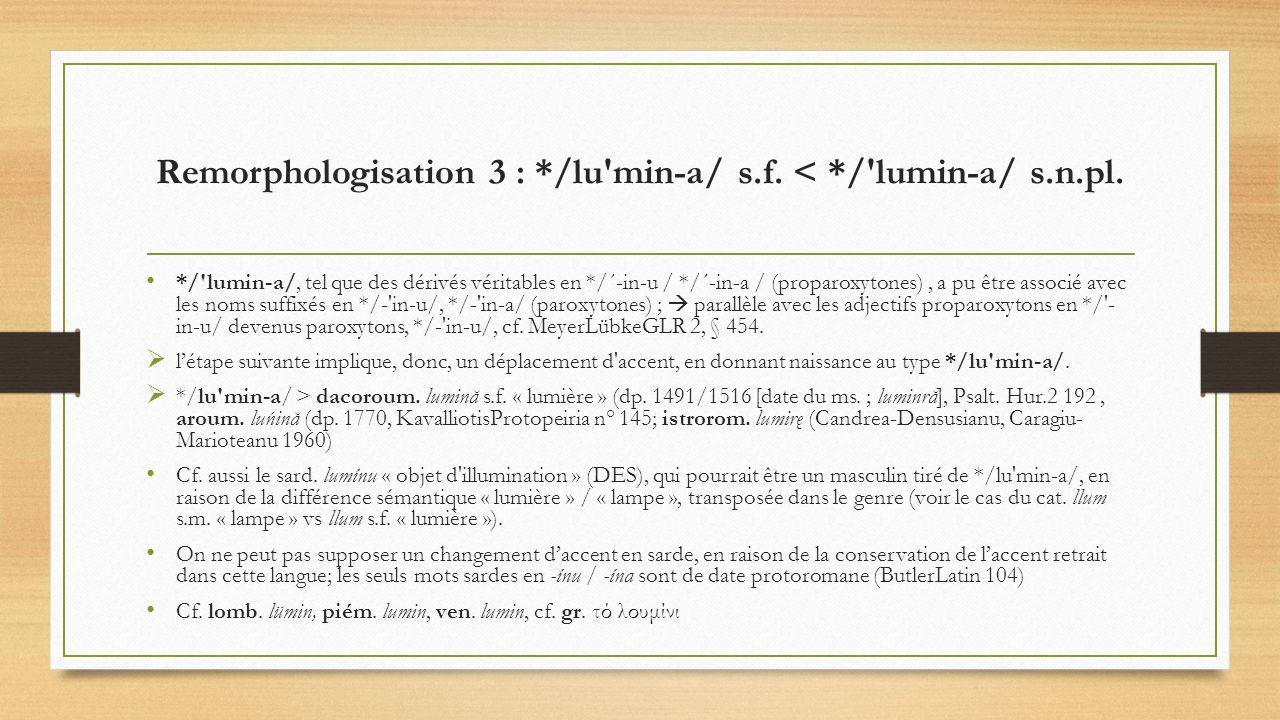Remorphologisation 3 : */lu min-a/ s.f. < */ lumin-a/ s.n.pl.