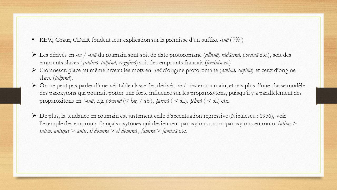 REW, Graur, CDER fondent leur explication sur la prémisse d'un suffixe -ină ( )