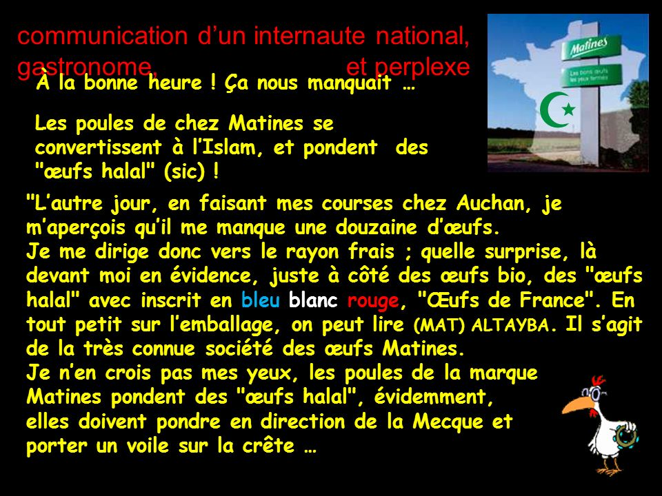 communication d'un internaute national, gastronome, et perplexe