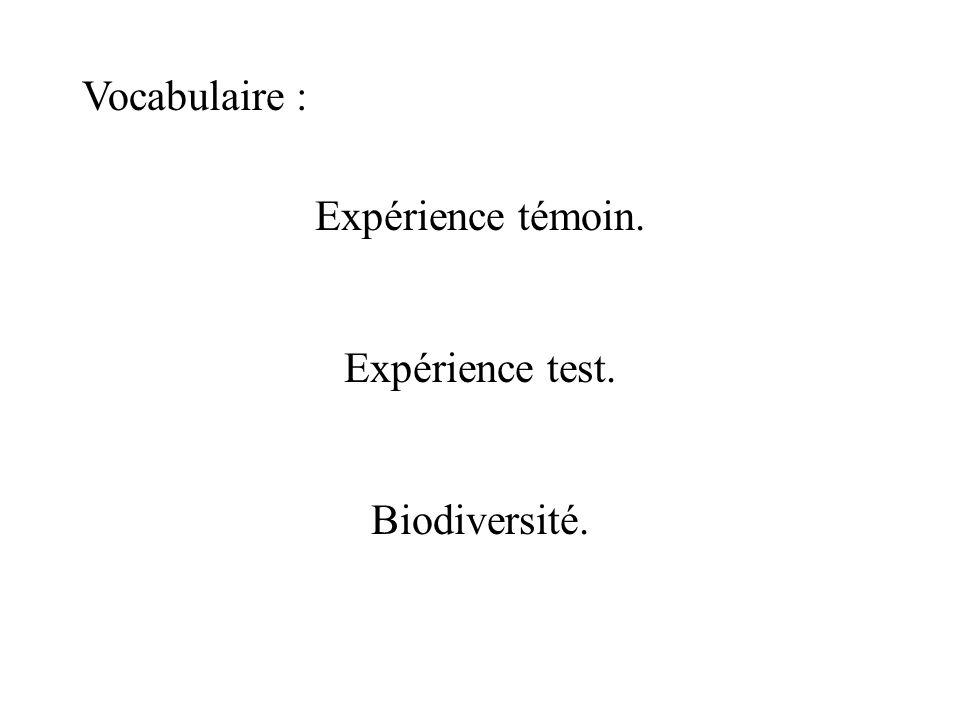 Vocabulaire : Expérience témoin. Expérience test. Biodiversité.