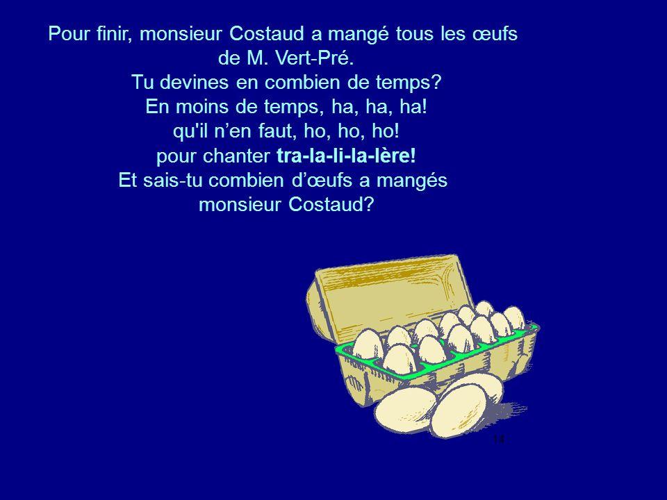 Pour finir, monsieur Costaud a mangé tous les œufs de M. Vert-Pré.