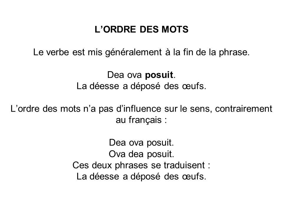 L'ORDRE DES MOTS Le verbe est mis généralement à la fin de la phrase