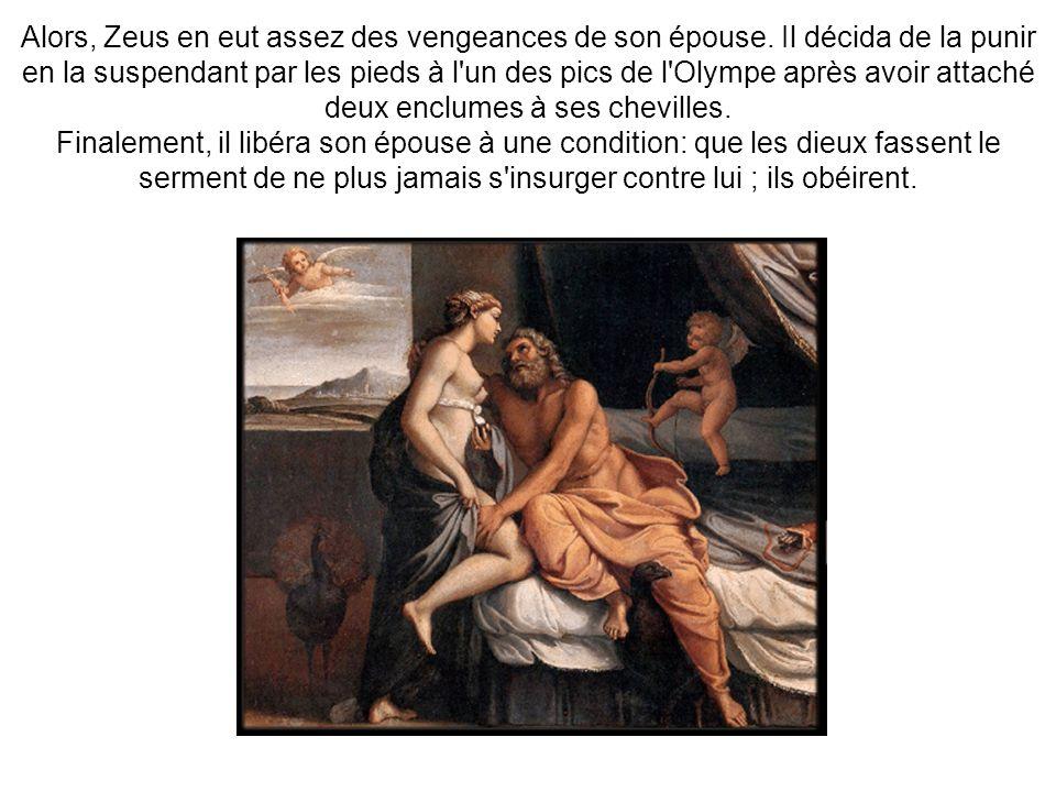 Alors, Zeus en eut assez des vengeances de son épouse