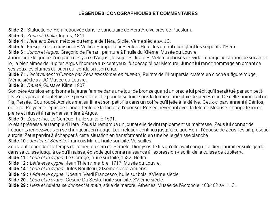 LÉGENDES ICONOGRAPHIQUES ET COMMENTAIRES