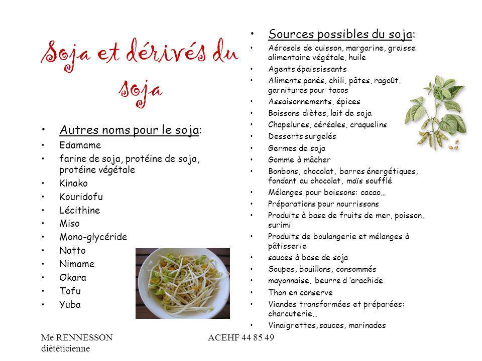 Soja et dérivés du soja Sources possibles du soja: