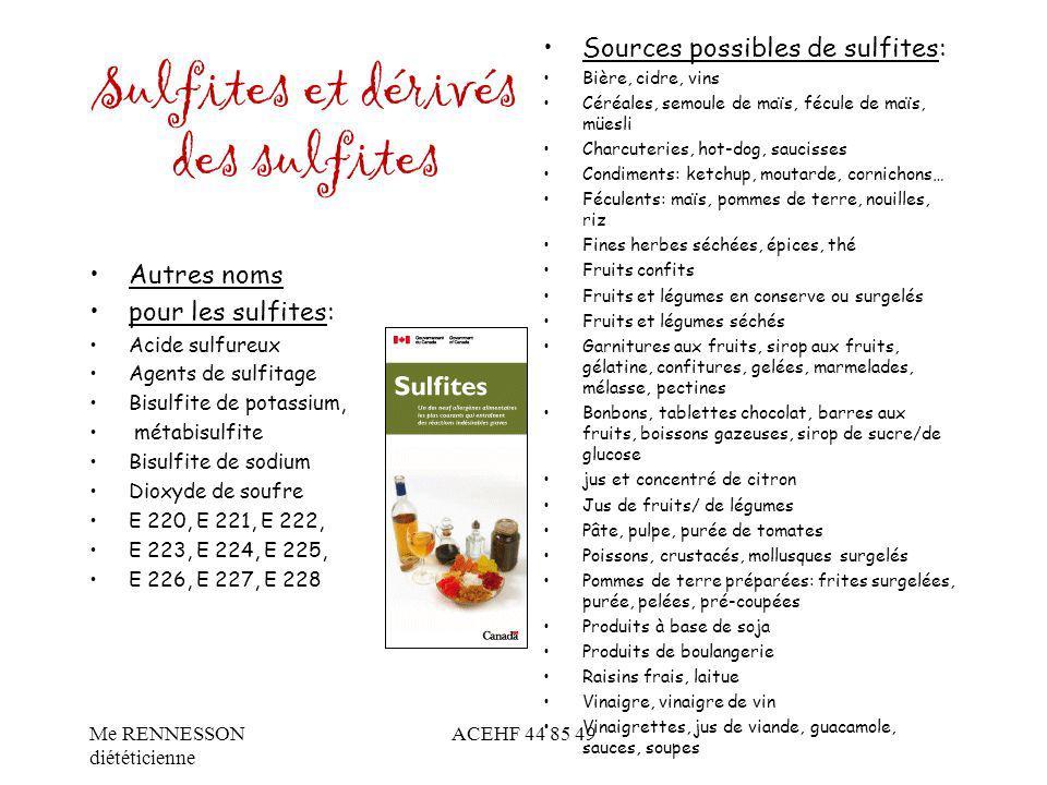Sulfites et dérivés des sulfites