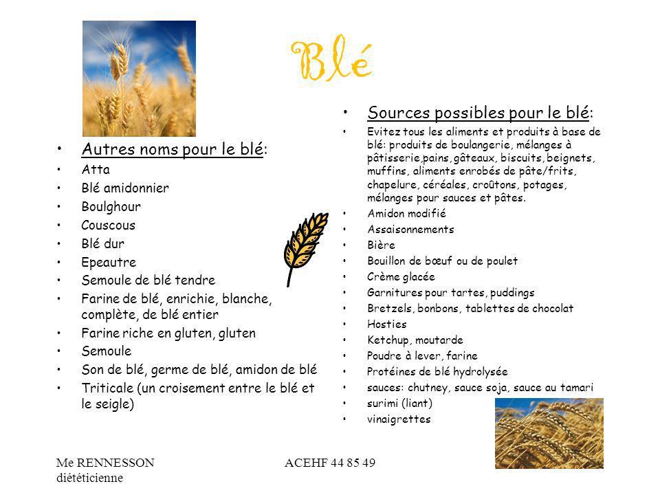 Blé Sources possibles pour le blé: Autres noms pour le blé: Atta