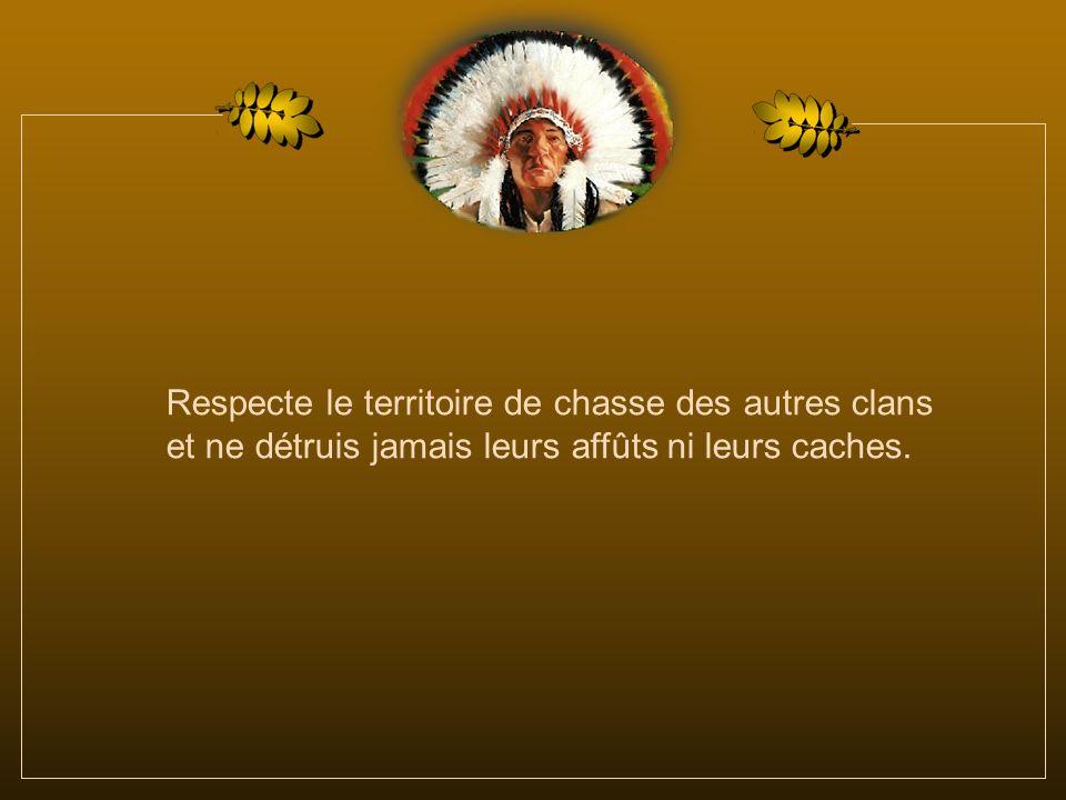 Respecte le territoire de chasse des autres clans et ne détruis jamais leurs affûts ni leurs caches.