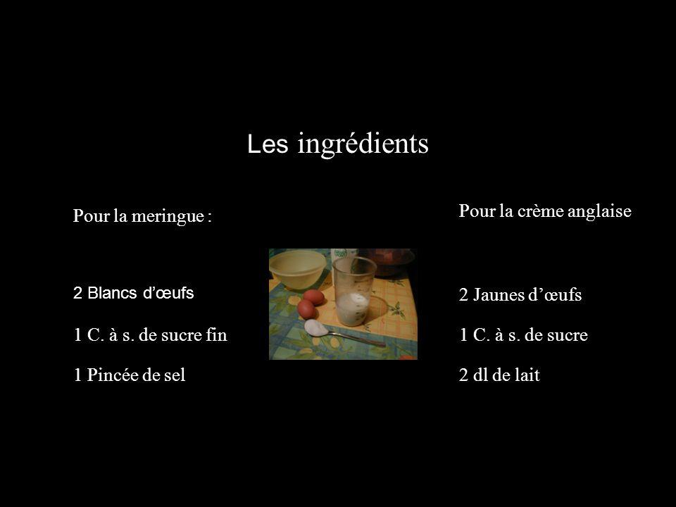 Les ingrédients Pour la crème anglaise Pour la meringue :