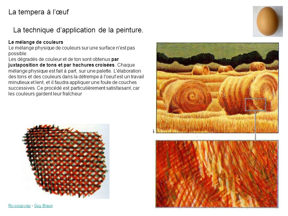 La technique d'application de la peinture.