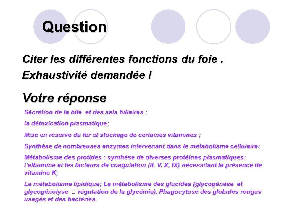 Question Votre réponse Citer les différentes fonctions du foie .