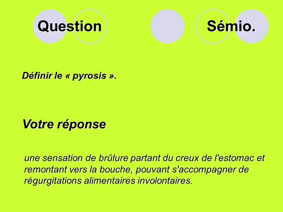 Question Sémio. Votre réponse Définir le « pyrosis ».