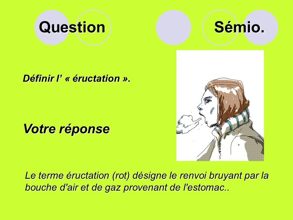 Question Sémio. Votre réponse Définir l' « éructation ».