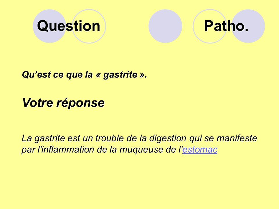Question Patho. Votre réponse Qu'est ce que la « gastrite ».