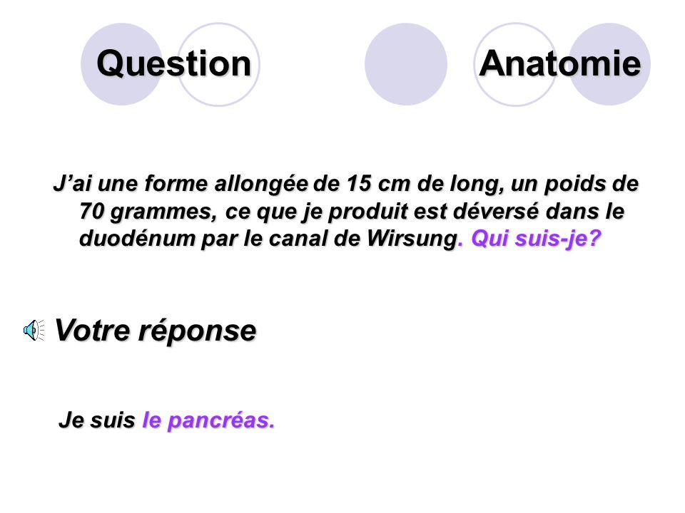 Question Anatomie Votre réponse