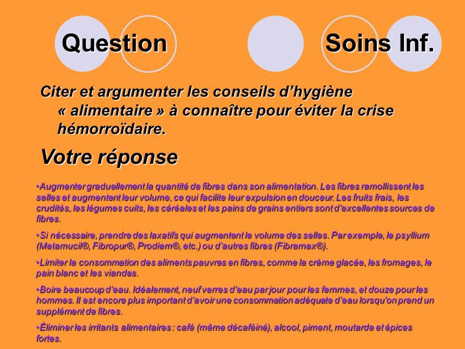 Question Soins Inf. Votre réponse