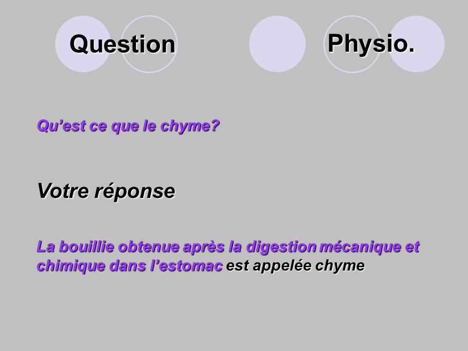 Question Physio. Votre réponse Qu'est ce que le chyme