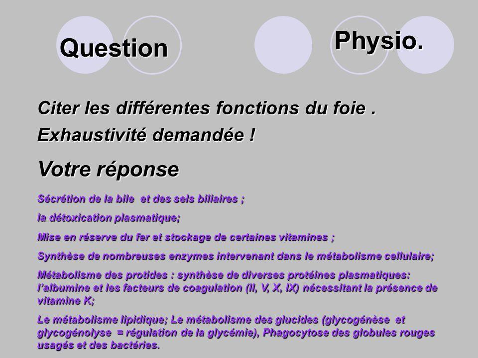 Physio. Question Votre réponse