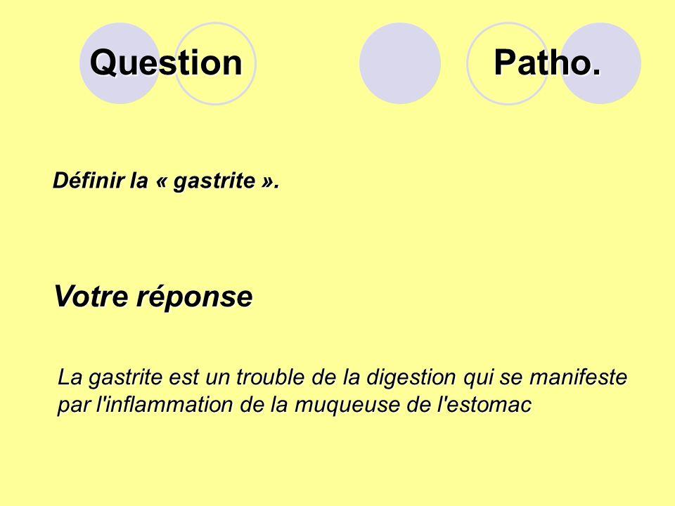 Question Patho. Votre réponse Définir la « gastrite ».