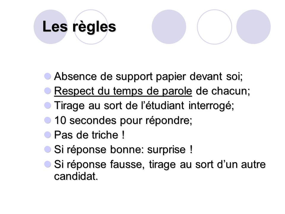Les règles Absence de support papier devant soi;