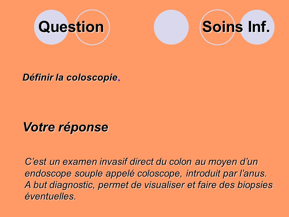 Question Soins Inf. Votre réponse Définir la coloscopie.