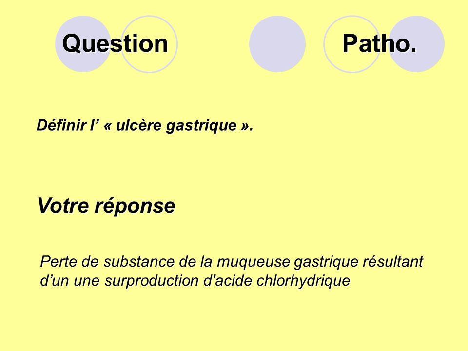 Question Patho. Votre réponse Définir l' « ulcère gastrique ».