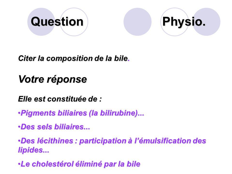 Question Physio. Votre réponse Citer la composition de la bile.
