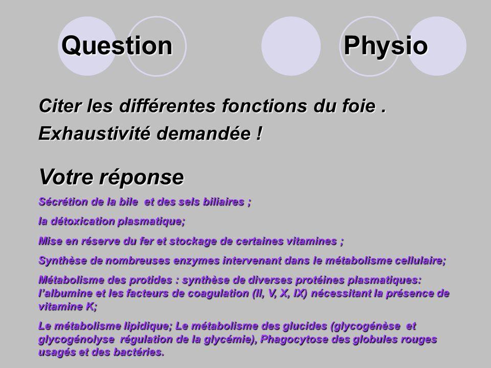 Question Physio Votre réponse