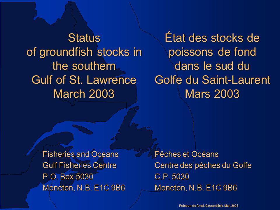 État des stocks de poissons de fond dans le sud du