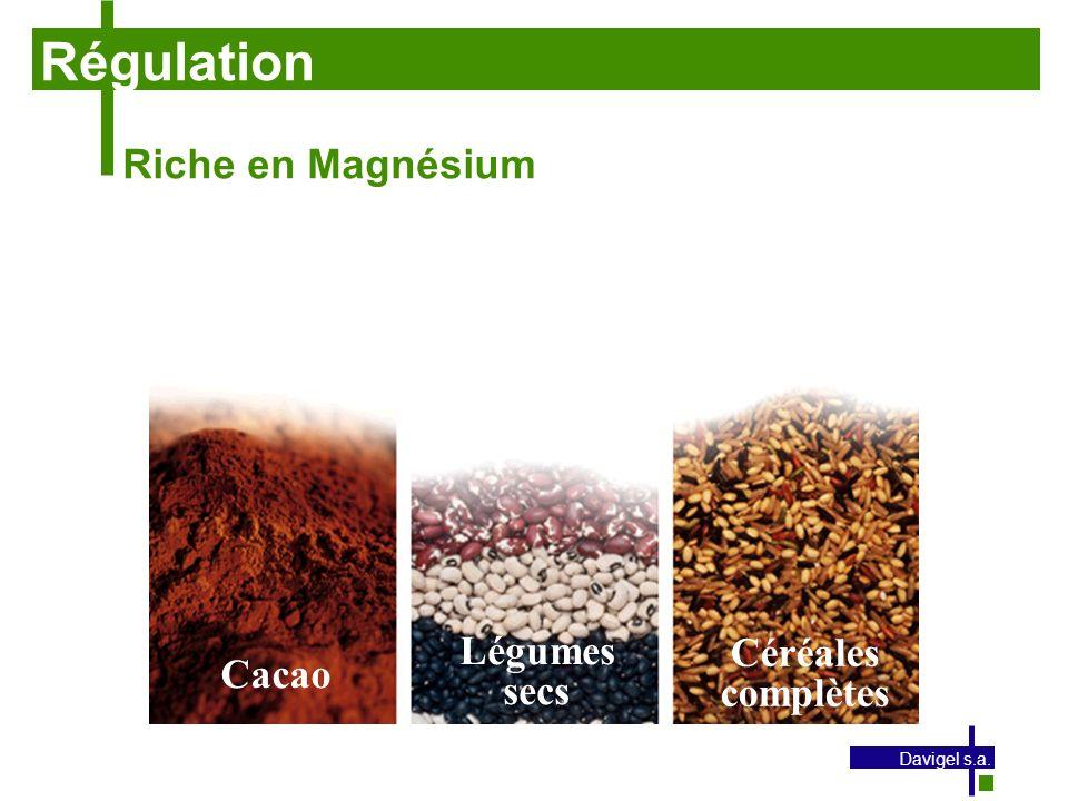 Régulation Riche en Magnésium Légumes Céréales Cacao secs complètes